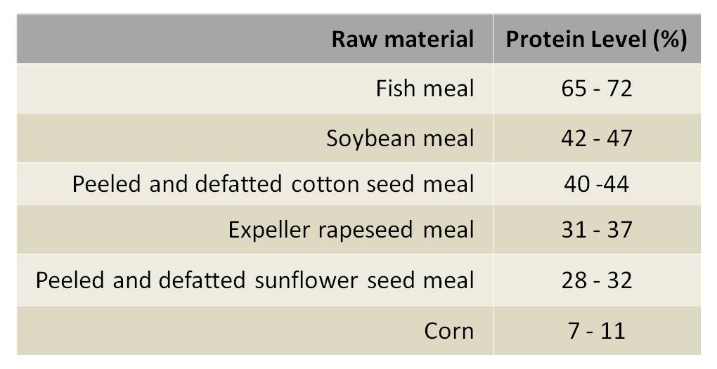 Protein Level of Some Raw Materials