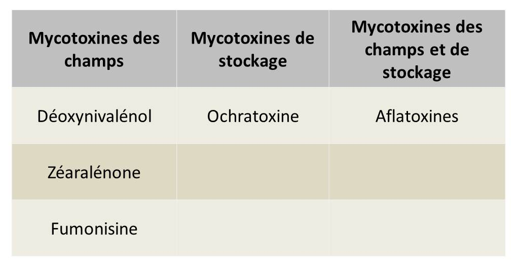 Classification des mycotoxines selon origine